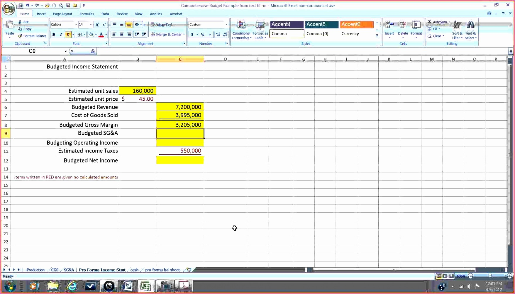 Pro Forma Income Statement Template Excel Zrom