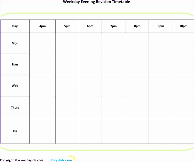printable evening revision timetable template 662552