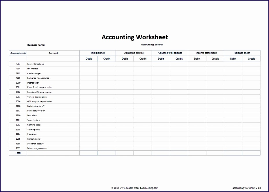 double entry bookkeeping excel template