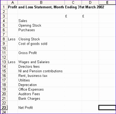 profit and loss template 395390