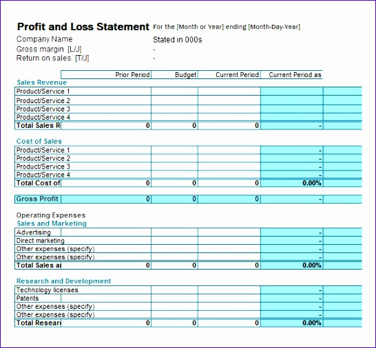 profit and loss statement template 546506
