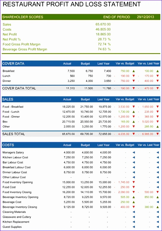 10 profit and loss statement excel template