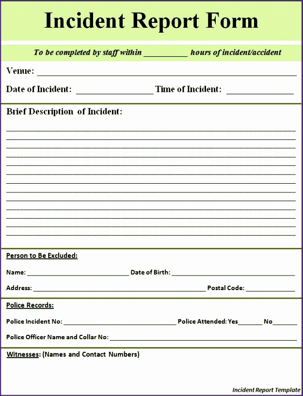 free incident report template 1614 625815