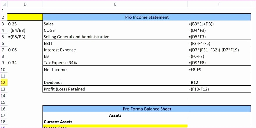 articledisplay title=Excel Tutorial Pro Forma Statement and AFN