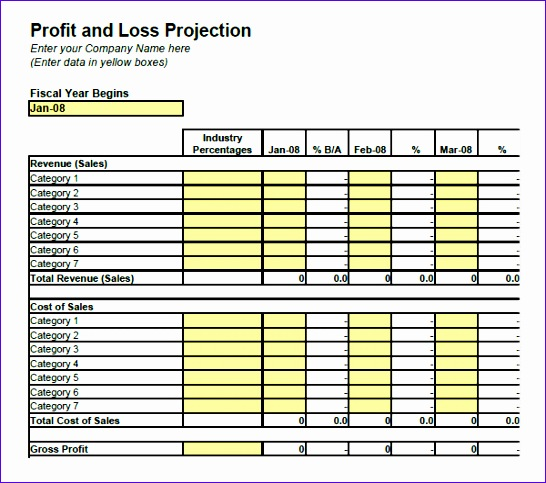 Profit And Loss Template  Excel Profit Loss Template
