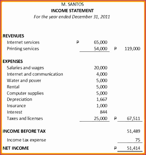 10 example of balance sheet and in e statement of a pany 507537