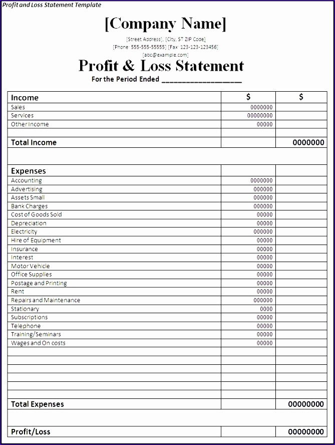 template profit and loss statement excel profit loss statement 669888
