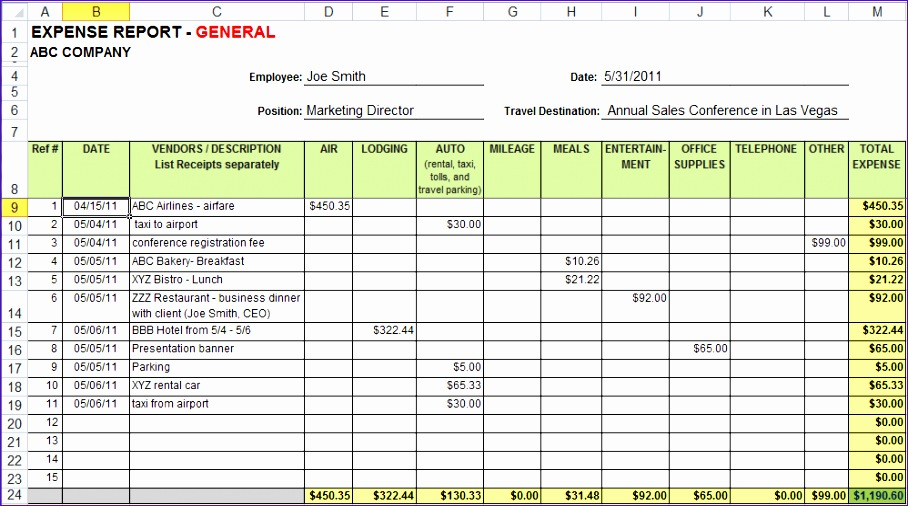 7 expense report template excel 908506
