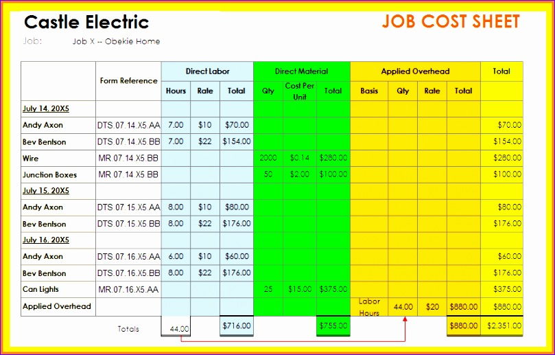9 construction job costing spreadsheet 809517