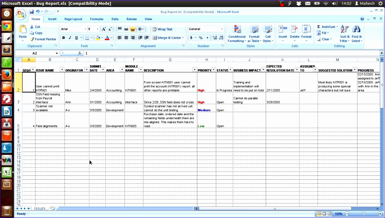 issue tracking spreadsheet template excel 1243706