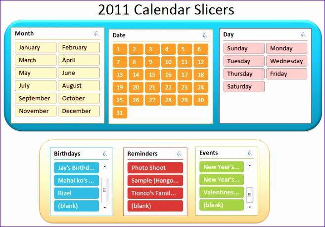 2011 calendar slicers 657460