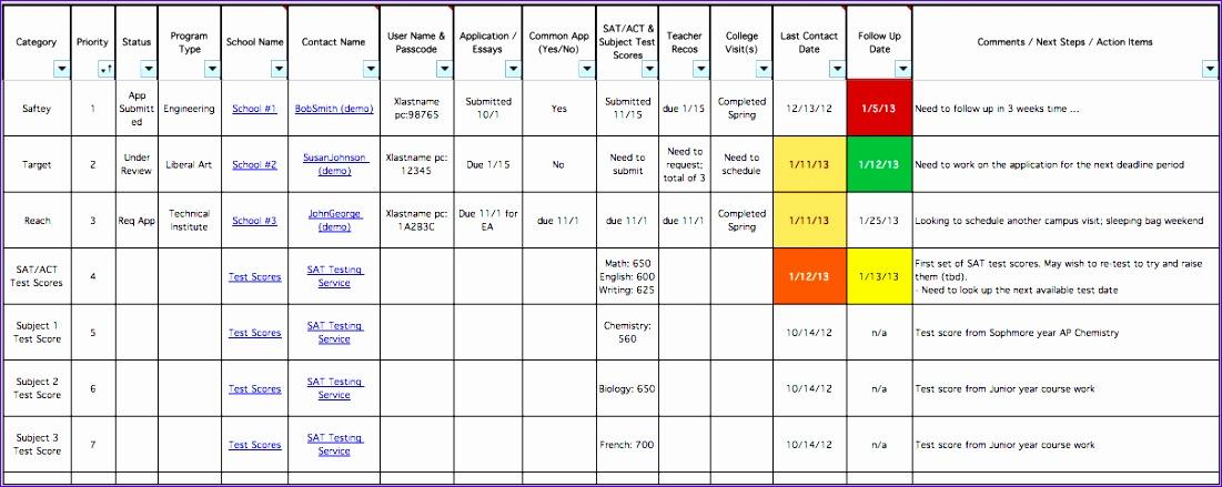 college scholarship excel spreadsheet template