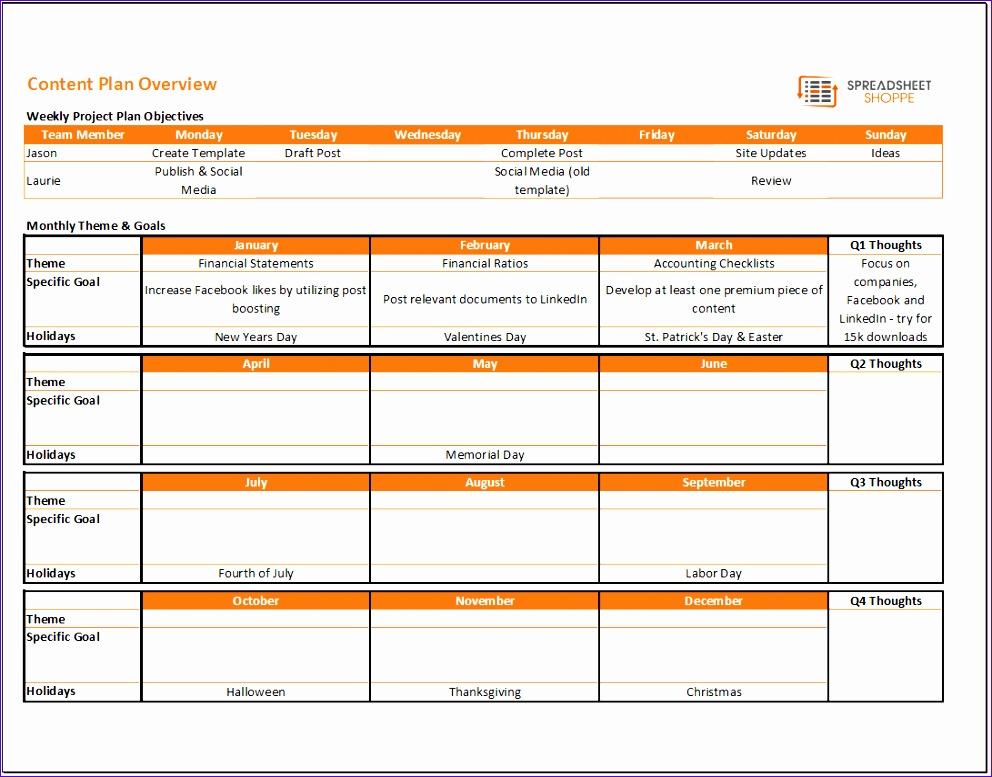 content calendar plan template