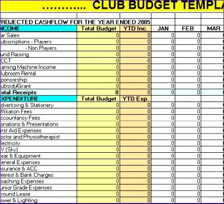 club bud template excel 455414