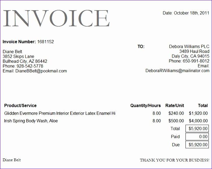 invoice sample doc 3562