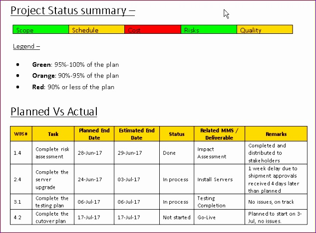 project status report template word