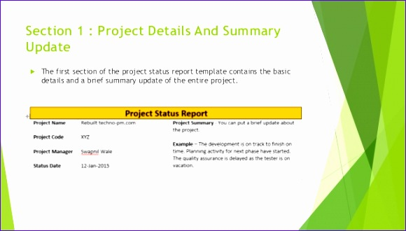 one page effective project status report 580330