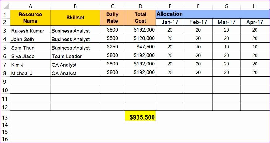 project matrix template 876463