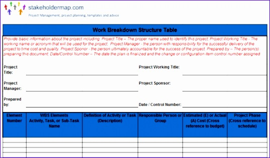 WBS excel template