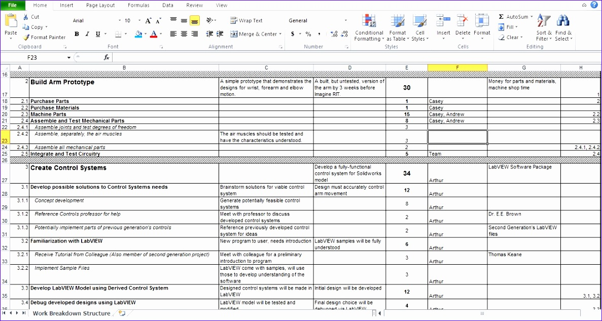 work breakdown structure excel template wbs 1187633