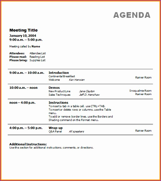 11 business meeting agendas