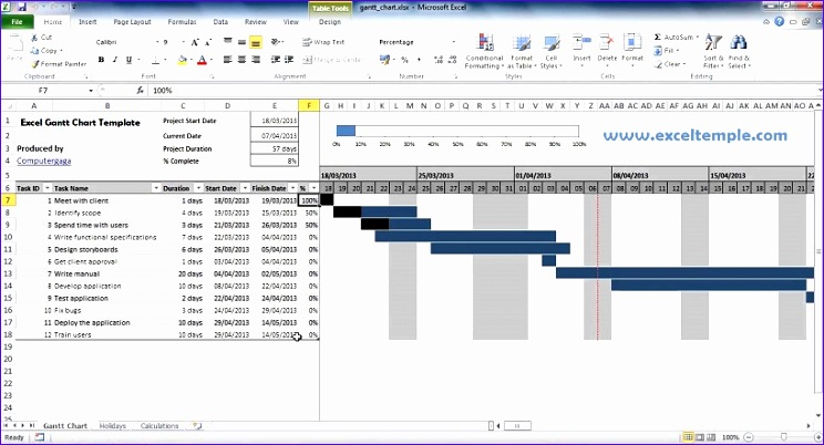 project management excel gantt chart template free 744402