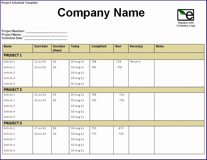 10 project schedule template excel exceltemplates