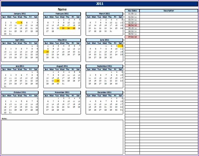 calendar with key dates