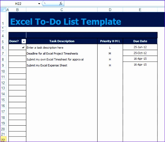 to do list template excel xls
