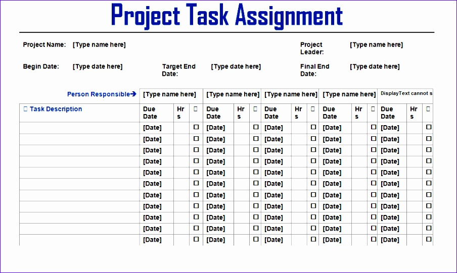project task assignment word template 904541