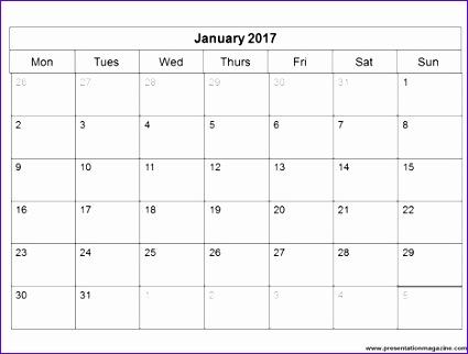 blank monthly calendar 2017 516 425322