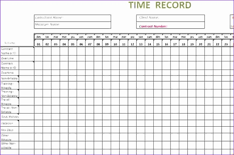 8 timesheet template excel