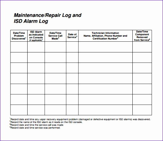 repair log template 532460