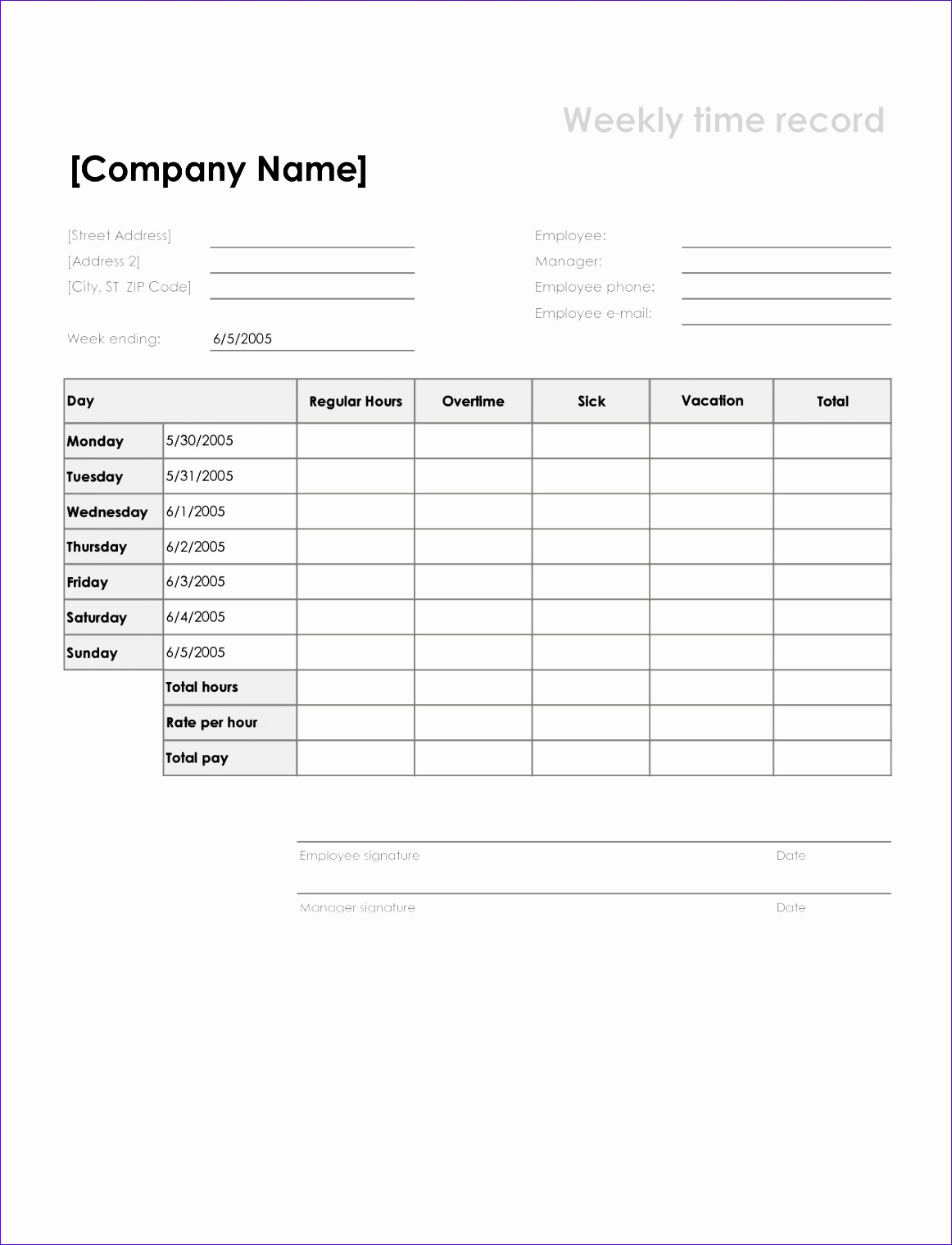 Purchase order Excel Template Pcww5 Fresh 5 Weekly Timesheet Template 12771652