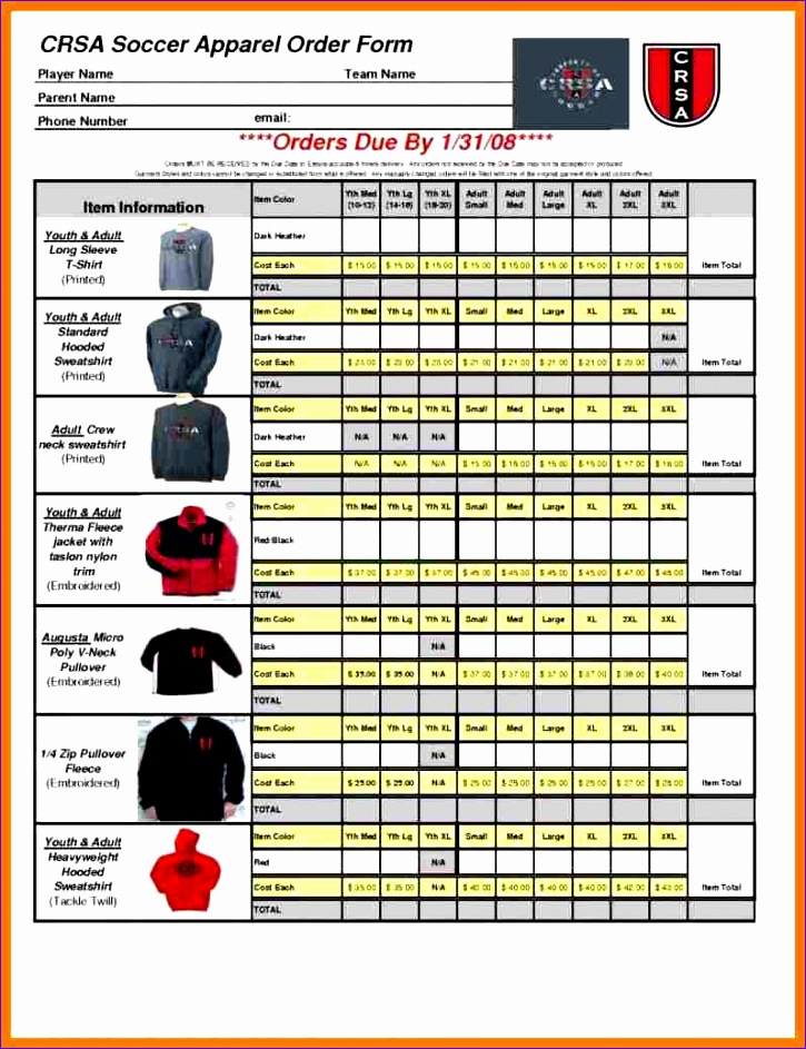 5 apparel order form template
