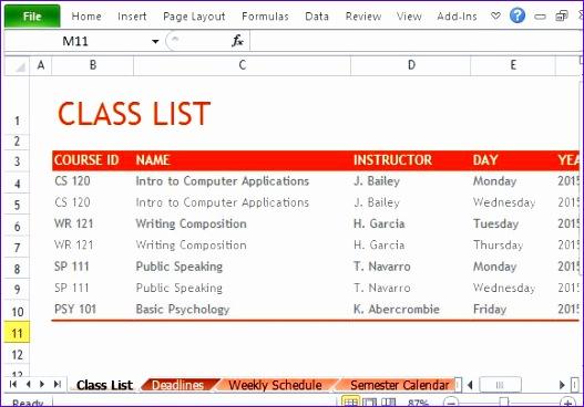 create semester schedule excel 527368