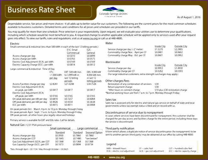 rate sheet templates 662510