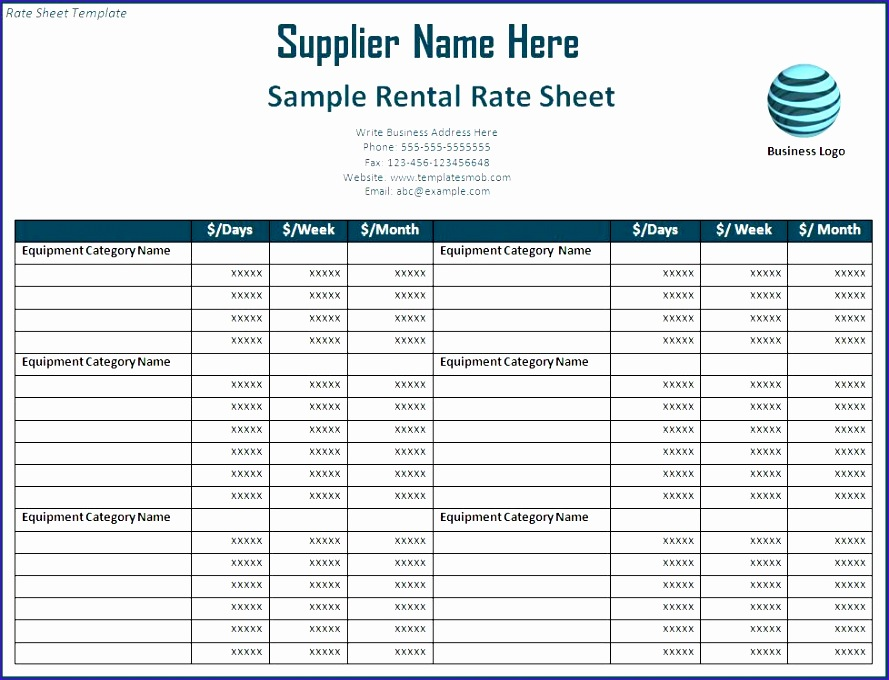 rate sheet template 889680