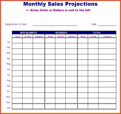 sales projection template 507477
