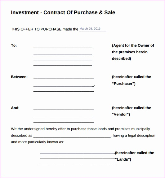 sample investment contract template 532575