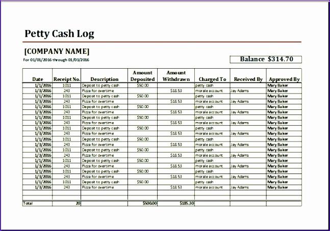 sample petty cash log template excel 647454