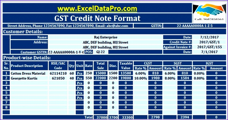 gst credit note format 728384