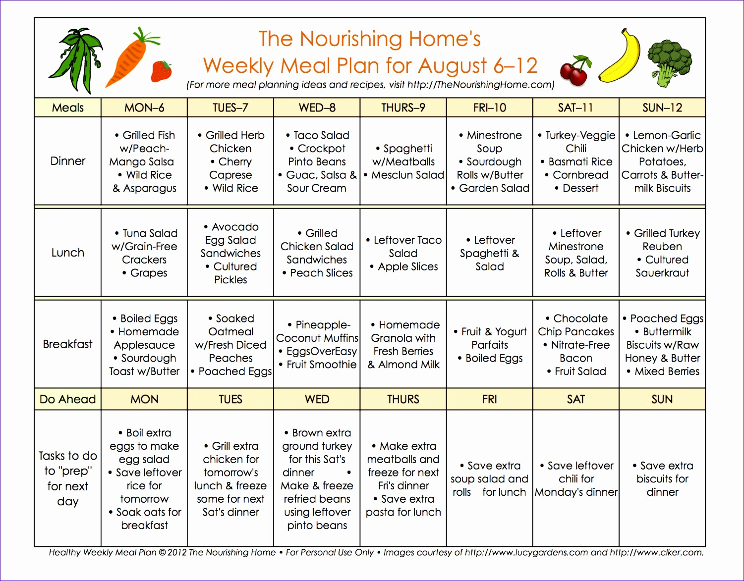 bi weekly meal plan for august 6 19