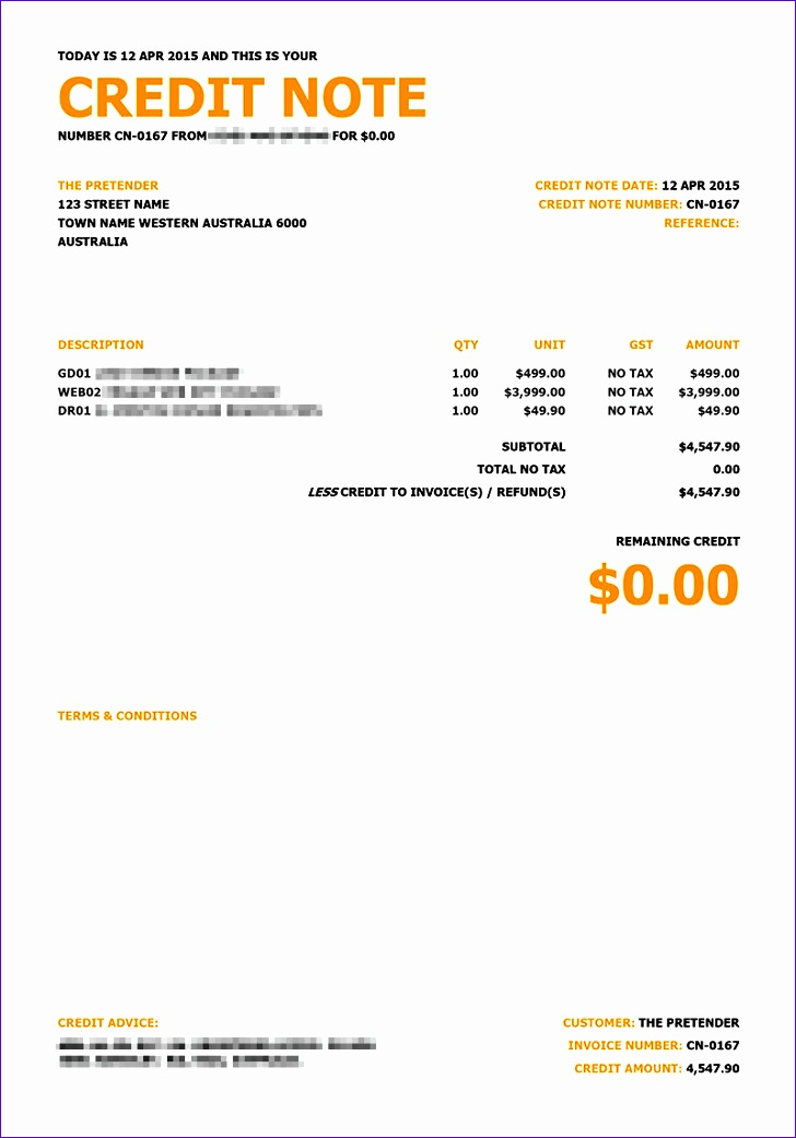 credit note invoicing template replacement 7281041
