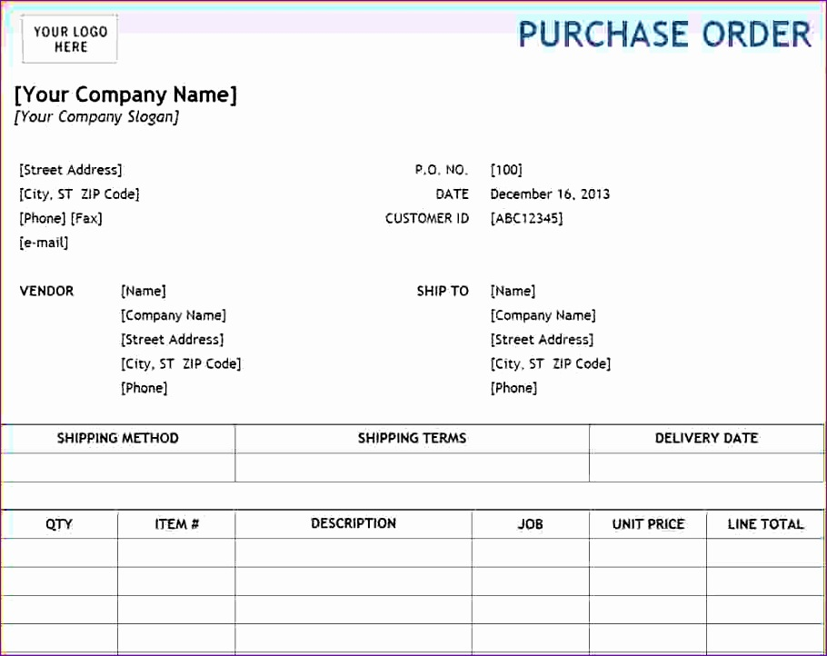 6 excel purchase order template 910722