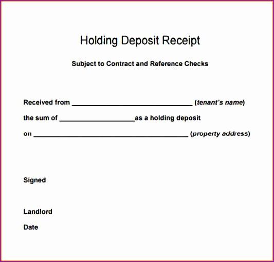 9 deposit receipt template
