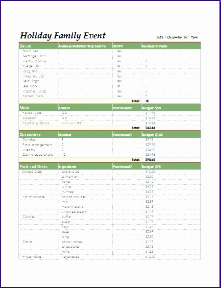 holiday family event checklist 433564