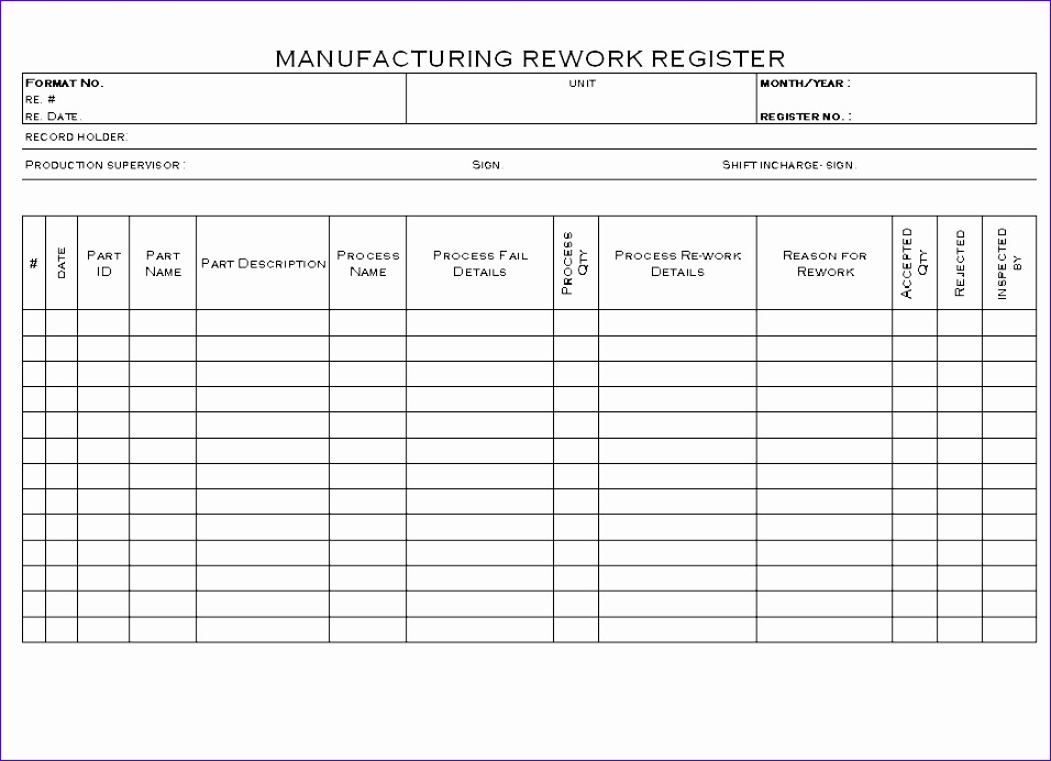 manufacturing rework register 956692