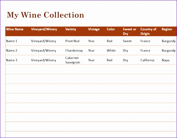 Wine collection list TM 614478