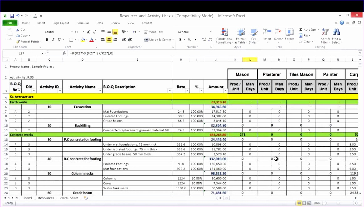 resource planning spreadsheet template 1164662